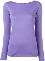 Ralph Lauren Boat Neck Slim Fit Jumper Pink And Purple