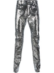 Saint Laurent Sequin Embellished Slim Fit Trousers Metallic