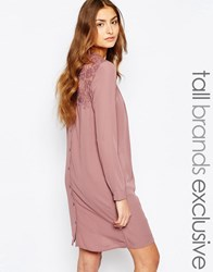 Y.A.S Tall Lace Insert Shirt Dress With Button Back Detail Rose Pink