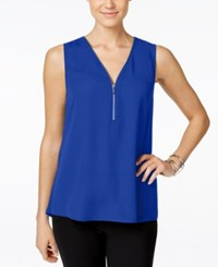 Inc International Concepts Sleeveless Zippered Knit Back Top Only At Macy's Goddess Blue