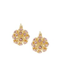 Fragments For Neiman Marcus Fragments Golden Domed Crystal Flower Drop Earrings Pink