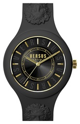 Versus By Versace 'Fire Island' Round Rubber Strap Watch 39Mm Black