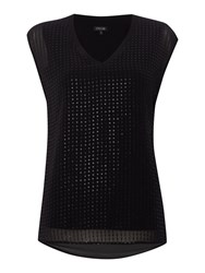 Episode Sleeveless V Neck Sequin Blouse Black