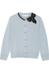 Marc Jacobs Sequin Embellished Wool Cardigan Sky Blue