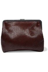 Clare V. V Pierlot Supreme Leather Trimmed Calf Hair Clutch Burgundy