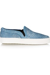 Schutz Amisha Snake Effect Leather Slip On Sneakers Blue