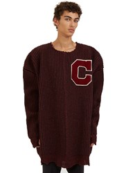 Raf Simons Oversized Destroyed Varsity Sweater Burgundy