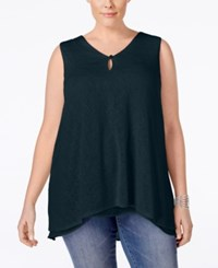 Styleandco. Style And Co. Plus Size V Neck Sleeveless Handkerchief Hem Top Only At Macy's Industrial Blue