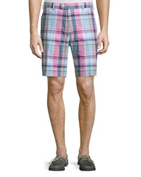 Peter Millar Yarn Dyed Plaid Cotton Shorts Blue Blue Plaid