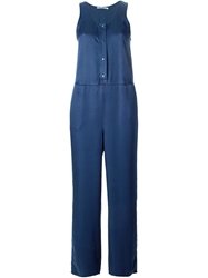 T By Alexander Wang Buttoned Playsuit Blue