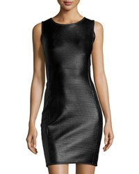 Max Studio Ribbed Faux Leather Sheath Dress Black