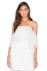 J.O.A. Short Sleeve Open Shoulder Blouse White