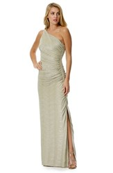 Laundry By Shelli Segal Women's Foiled One Shoulder Gown Gold Silver