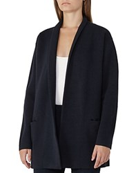 Reiss Hettie Longline Drop Shoulder Cardigan Night Navy