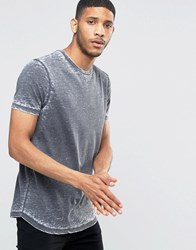 Asos Longline T Shirt With Mini Curved Hem And Burnout Wash In Grey Grey