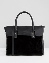 Pieces Foldover Tote Bag With Contrast Velvet Black