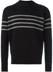 Saint Laurent Stripe Detail Sweater Black