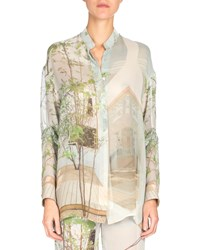 Akris Long Sleeve Button Front Tunic Multi Colors