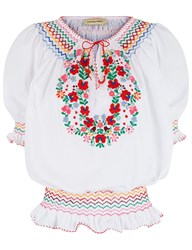 Muzungu Sisters White Floral Embroidered Dora Blouse