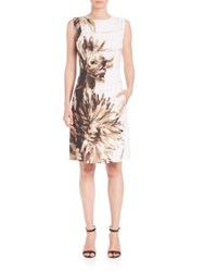 Josie Natori Printed Stretch Jersey Dress Amaretto Multi