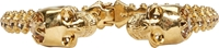 Alexander Mcqueen Gold And Crystal Studded Skull Cuff