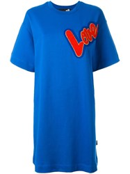 Love Moschino Patch T Shirt Dress Blue