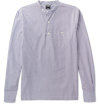 Todd Snyder Nyder Lim Fit Grandad Collar Triped Cotton Hirt White