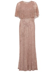 Gina Bacconi Beaded Mesh Dress With Cape Rose