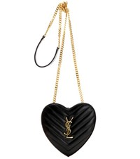 Saint Laurent Small Love Heart Chain Quilted Leather Shoulder Bag Black