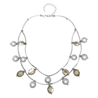 Adele Marie Two Row Faux Pearl And Bead Chain Necklace Silver