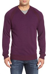 Men's Robert Graham 'Regan' Wool V Neck Sweater Blackberry