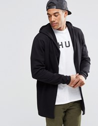 Asos Knitted Hoody Cardigan In Cotton Black