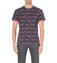 Ted Baker Floral Print Cotton Jersey T Shirt Navy