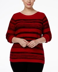 Karen Scott Plus Size Mixed Stripe Sweater Only At Macy's New Red Amore Combo