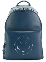 Anya Hindmarch 'Smiley' Backpack Blue