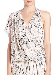 Haute Hippie Printed One Shoulder Silk Blouse Floral Feather