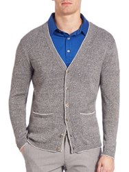 Saks Fifth Avenue Lincoln Cotton And Linen Cardigan Grey