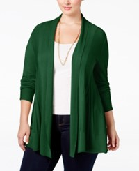 Ny Collection Plus Size Open Front Textured Cardigan Wild Sage