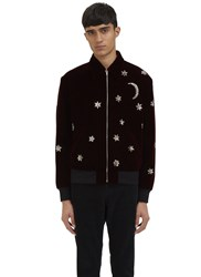 Saint Laurent Stars And Moon Velvet Teddy Jacket Burgundy
