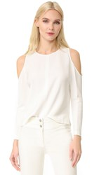 Veronica Beard Knight Cold Shoulder Keyhole Top Off White