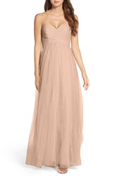 Wtoo Women's Strapless Tulle Gown Latte