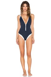 Seafolly Block Party Zip Front Swimsuit Navy