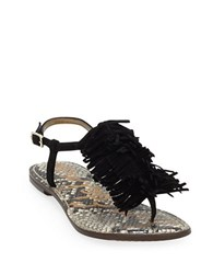 Sam Edelman Gela Leather Fringe Thong Sandals Black