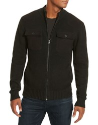 Kenneth Cole Marled Zip Front Sweater Black