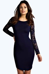 Boohoo Lace Sleeve Bodycon Dress Navy
