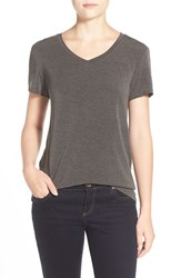 Women's Halogen Modal Jersey V Neck Tee Heather Charcoal