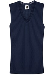 M Missoni Dark Blue Textured Knit Wool Blend Tank Navy