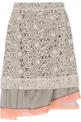 Michael Van Der Ham Macrama Lace And Silk Organza Skirt