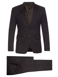 Givenchy Checked Slim Fit Wool Suit Navy