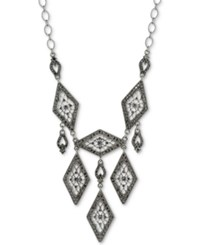 2028 Hematite Tone Pave Filigree Statement Necklace Silver